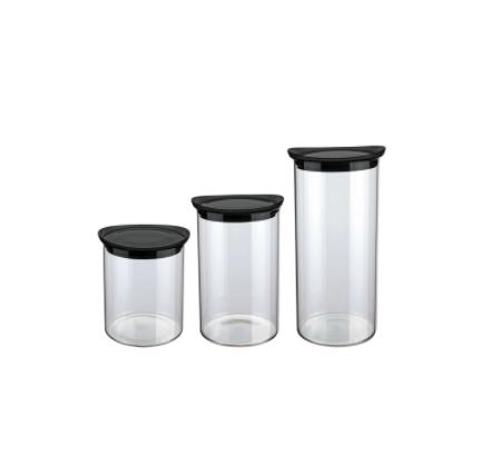 Kit De Potes De Vidros Herméticos Com Tampa Preto 3 Peças
