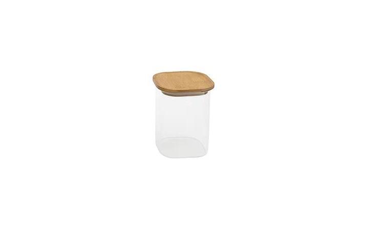 Pote 1,1 L De Vidro Empilhavel Com Tampa De Bambu Quadrado