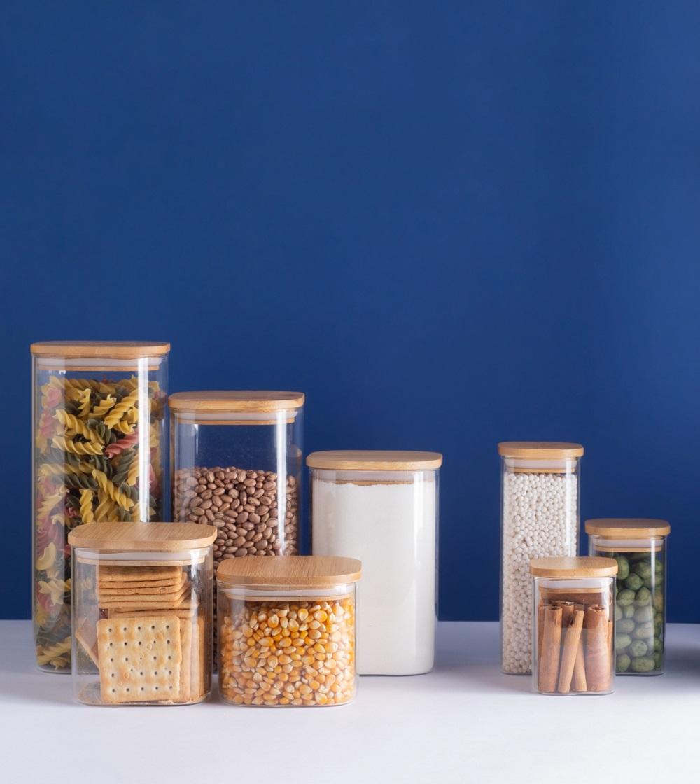 Pote 1,9 Litros De Vidro Com Tampa De Bambu Quadrado