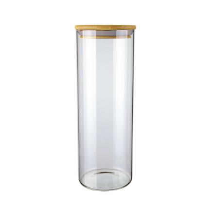 Pote De Vidro Hermético Com Tampa De Bambu 1,7 Litros