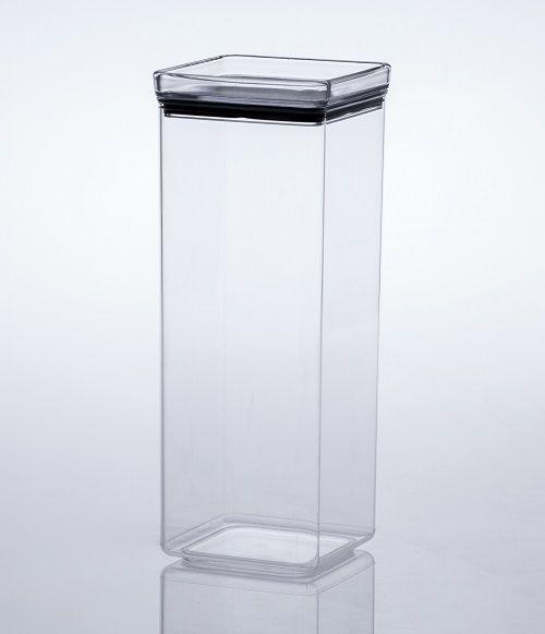Pote Hermético de Acrílico Cristal Quadrado - (2200ml)