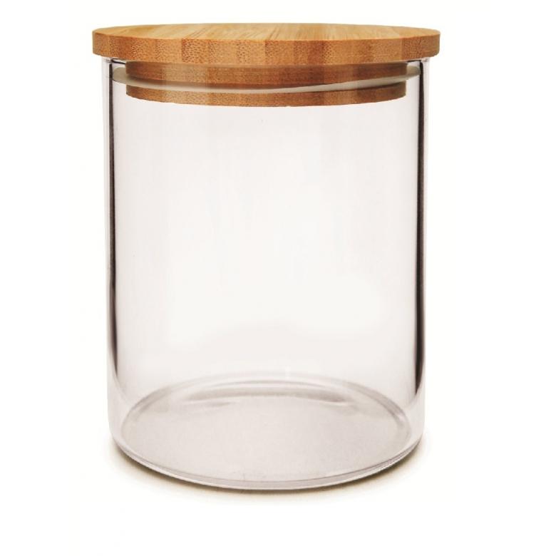 Pote Hermético de Vidro Com Tampa de Bambu ECO 450ML