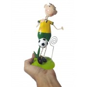 Boneco Enfeite de Mesa Com Porta Recado Em Metal 22 cm Jogador Time Selecao Copa Futebol Brasil (bon-p-13)