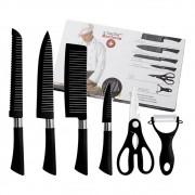Conjunto de facas Revestimento Antiaderente Aço Inox 6 Peças Design Ergonômico Cozinha Cabo ergonomico borracha texturizada soft touch