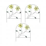 Enfeite Jardim Ferro Grade Casa Varanda Decora Planta Flor Verde Kit 3 Unidades