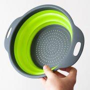 Escorredor Silicone Verde Macarrao 30 Cm Vapor Legumes Dobravel Verduras Cozinha
