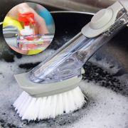 Escova Limpeza 2 em 1 Dispenser Detergente Esponja Cozinha Lava Louça
