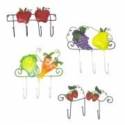 Gancho Metal Bolsa Chapeu Bone Jardim Cozinha Enfeite Legume Fruta Pendura Kit Com 4 (pt-c-l)
