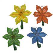 Gancho Metal Forma Flor Para Chapeu Bolsa Bone Enfeite Pendura Sortido Flor Com 4 (SY4088)