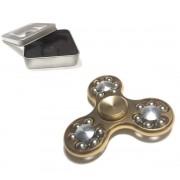 Hand Spinner Fidget de Metal Cromado Rolamento Metal Relax Giro Dourado (bsl-gira-12)