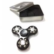 Hand Spinner Fidget de Metal Cromado Rolamento Metal Relax Giro Preto (bsl-gira-12)