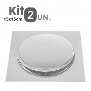 Kit 2 Ralos Click Inteligente 15x15 Aço Inox Pop Up Banheiro Lavabo Casa