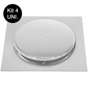 Kit 4 Ralos Click Aço Inox Inteligente Banheiros Lavabos Casa 10x10