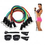 Kit Extensor 5 Elasticos Academia Exercicio em Casa Tonificaçao Pilates Musculaçao Abdominal Tubing