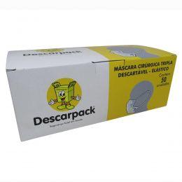 Máscara Cirúrgica Tripla com Elástico 50un Descarpack Kit 10cx