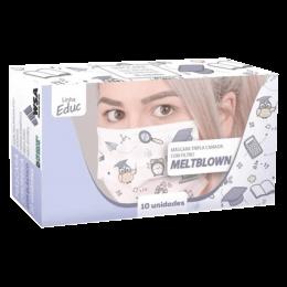 Máscara Descartável Tripla Educação com 10un WSA