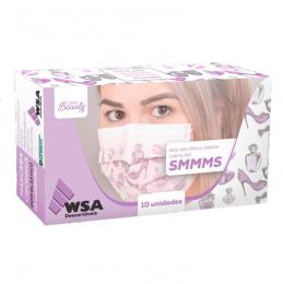 Máscara Descartável Tripla Linha Beleza com 10un WSA