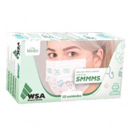 Máscara Descartável Tripla Linha Medic com 10un WSA