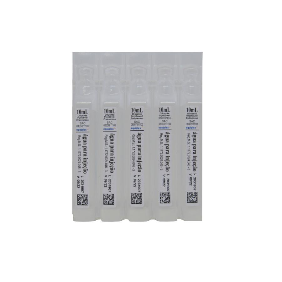 Água Destilada Estéril para Injeção 10ml Equiplex Caixa 200un