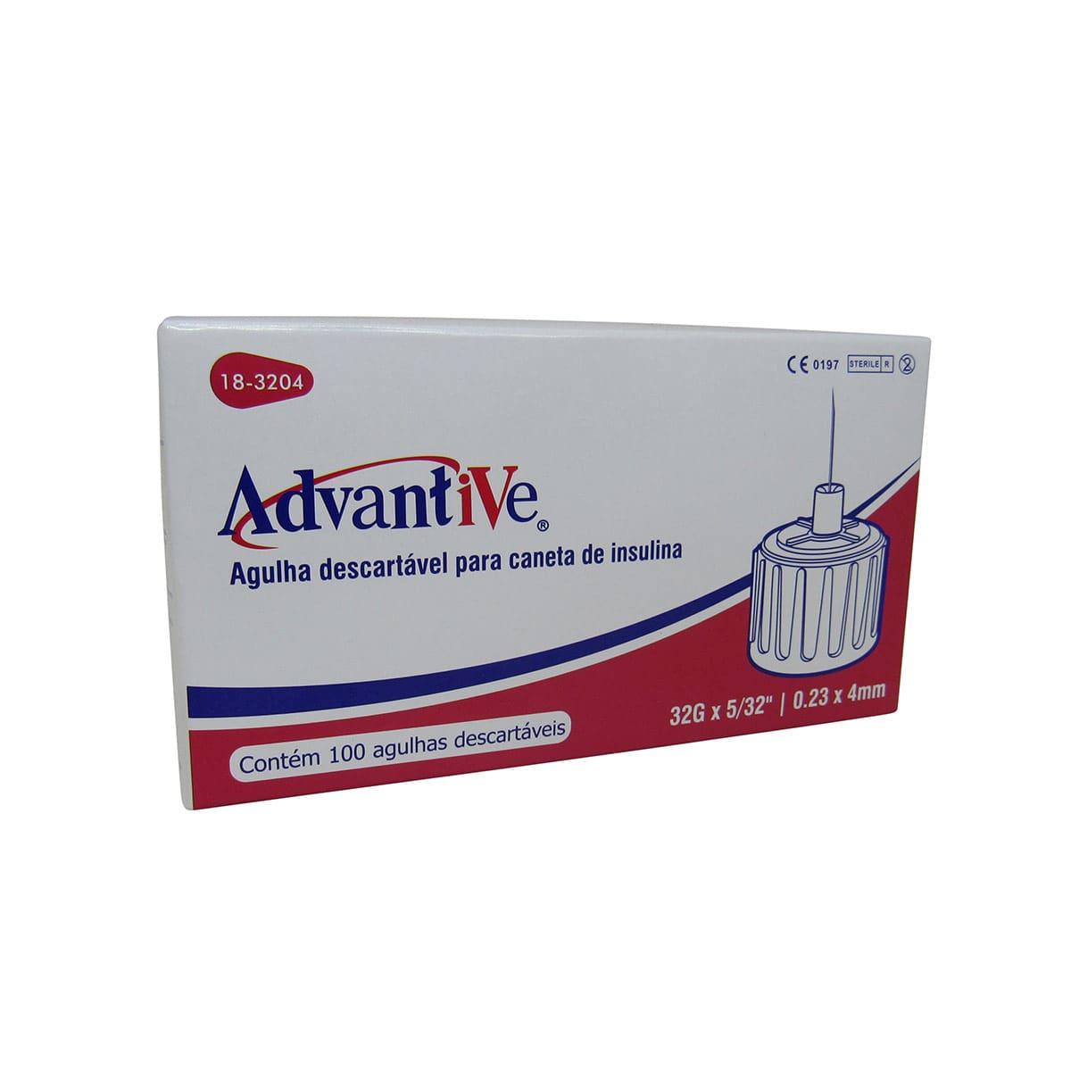 Agulha para Caneta Insulina 4mmx0,23 100un Advantive