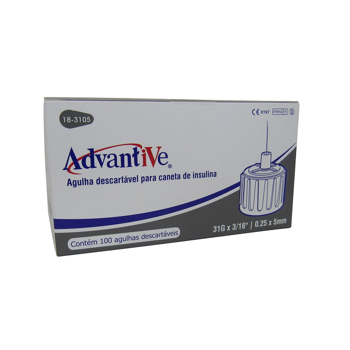 Agulha para Caneta Insulina 5mmx0,25 100un Advantive