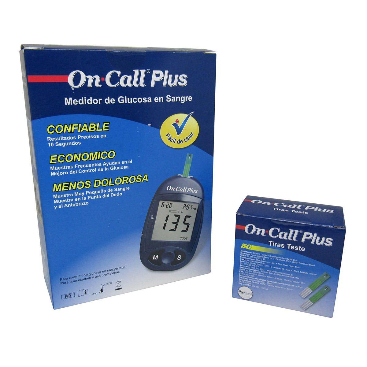 Aparelho Medidor De Glicose + 50 tiras On Call Plus