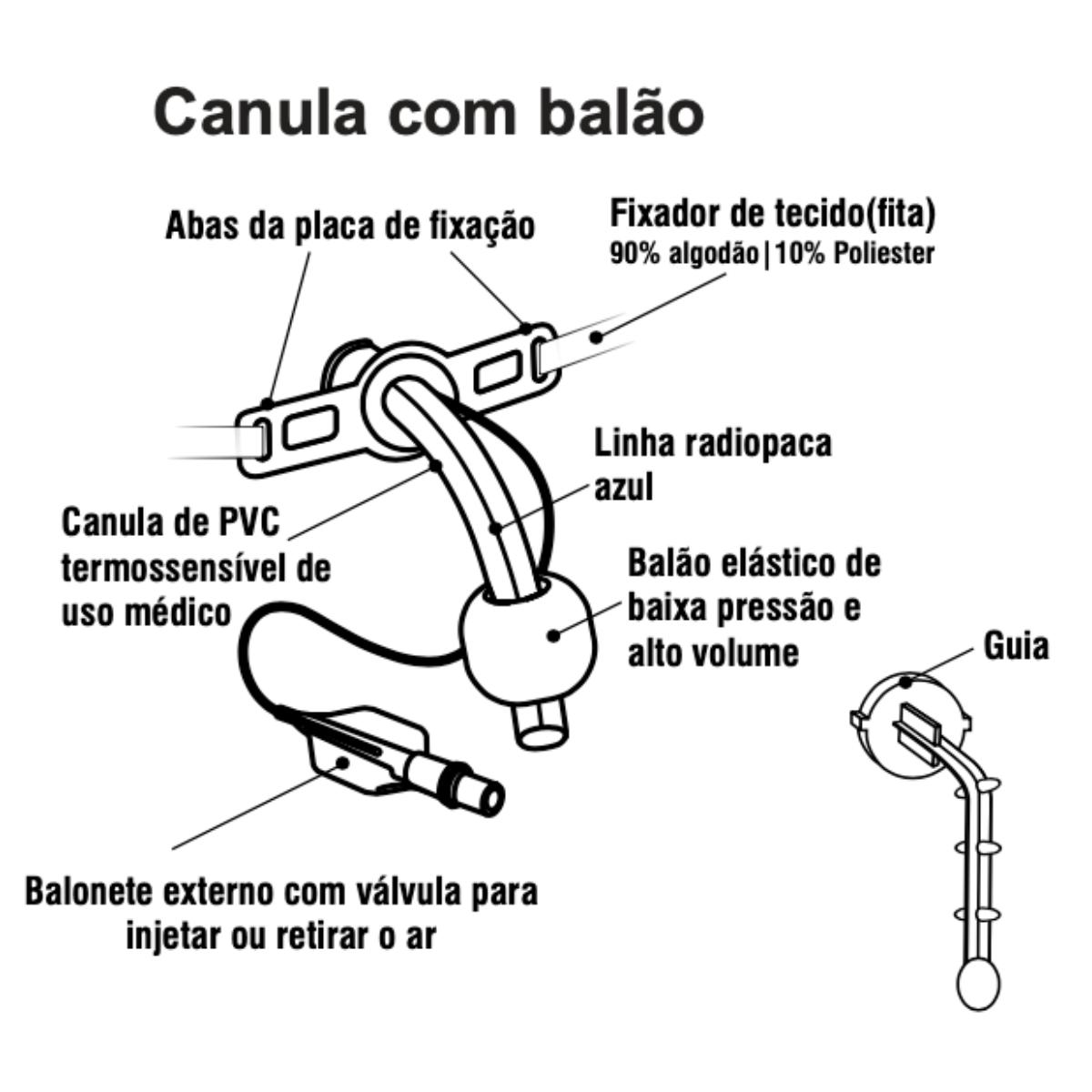 Cânula Tubo de Traqueostomia PVC com Balão Vital Gold
