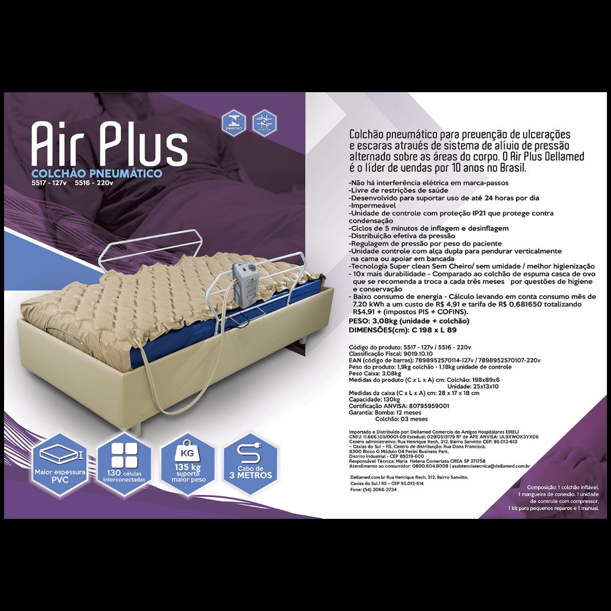 Colchão Pneumático Prevenção 220V Air Plus Dellamed