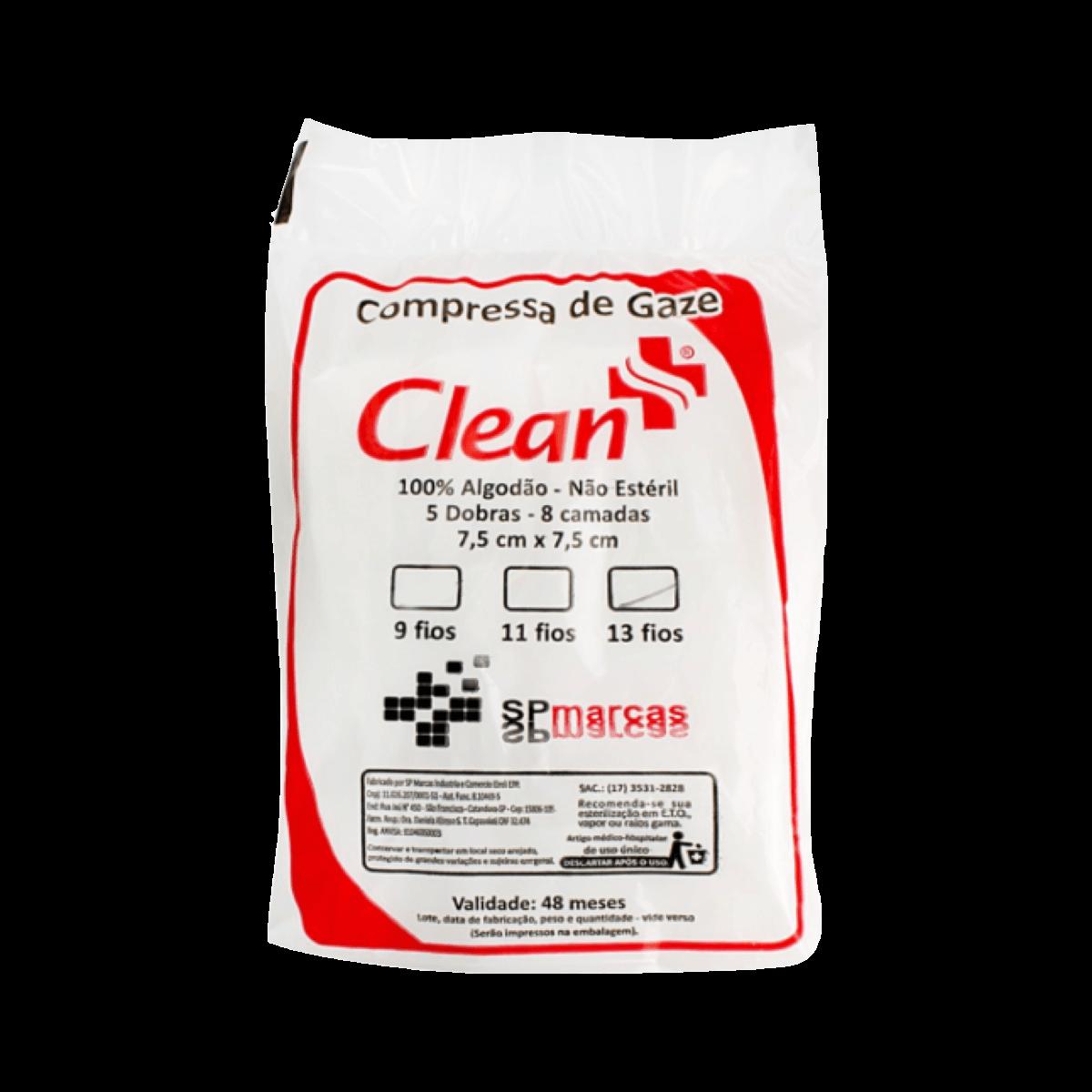 Compressa de Gaze 13 fios 180g Pct 200un Clean Farma Kit 6 Pcts