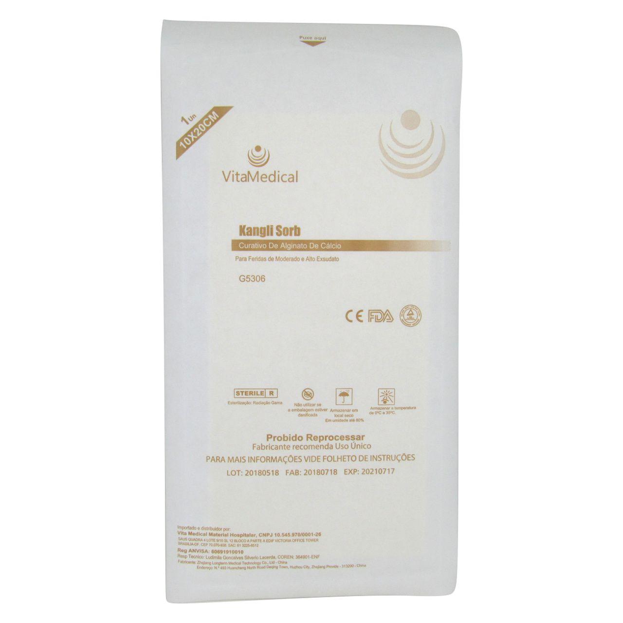 Curativo Alginato Cálcio e Sódio 10x20cm Vitamedical Kit 10un