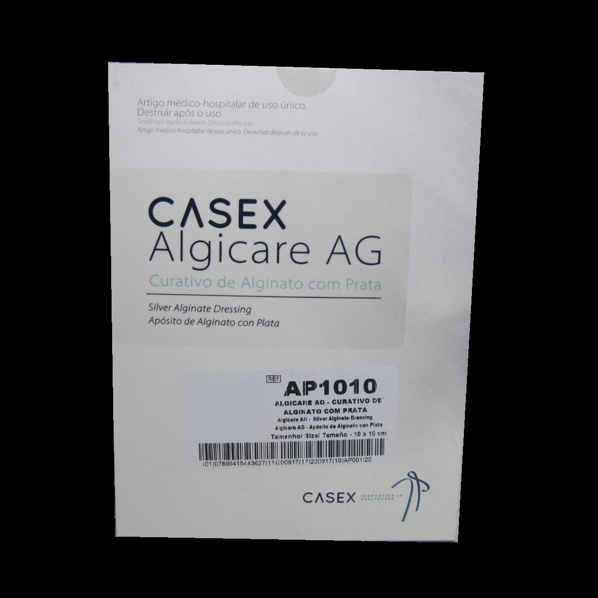 Curativo Alginato com Prata Algicare Ag 10x10cm Casex Kit  5 un
