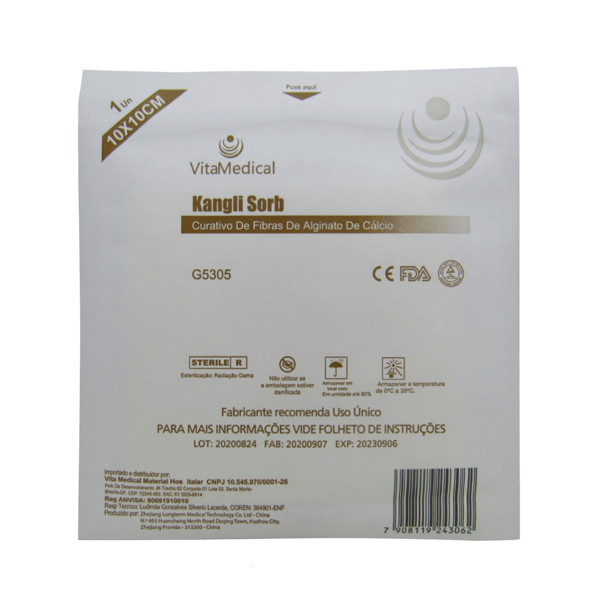 Curativo De Alginato De Cálcio 10cm X 10cm Vitamedical Kit 10un