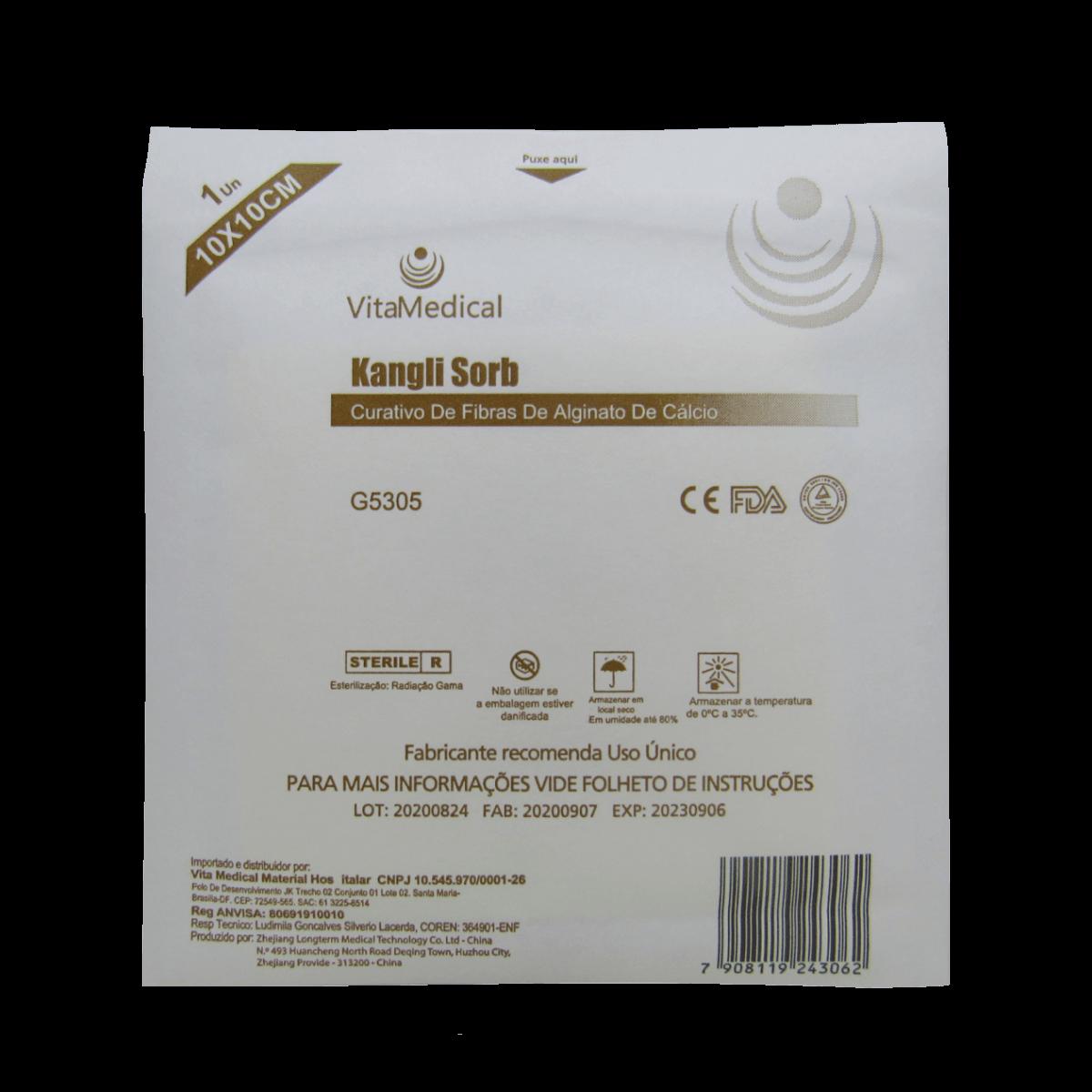 Curativo de Alginato de Cálcio 10x10cm Vitamedical