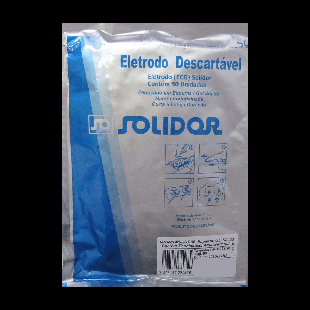 Eletrodo Descartável Eletrocardiograma ECG 50un Solidor