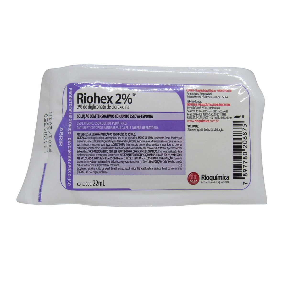 Escova Assepsia Riohex Clorexidina 2% Rioquímica Kit 20un