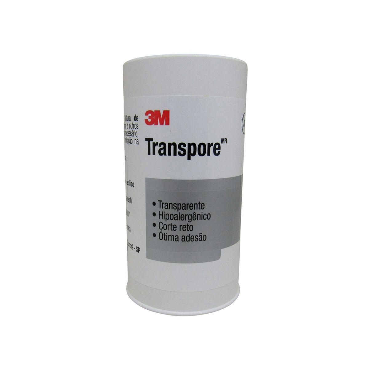 Esparadrapo 10cmx4,5m Transpore com capa 3M Kit com 4un
