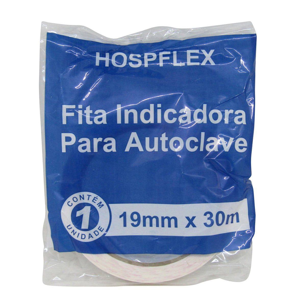 Fita Indicadora para Autoclave 19mm x 30m Hospflex kIt 10un