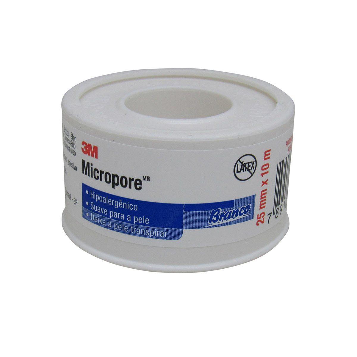 Fita Micropore 25mm x 10m Hipoalergênica Branca 3M Kit com 20un