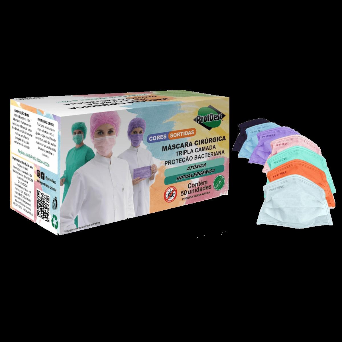 Máscara Desc. Tripla Colorida Clips 50un Protdesc