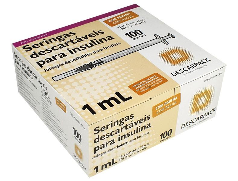 Seringa Insulina 1ml com Ag 13x4,5mm Descarpack 100un