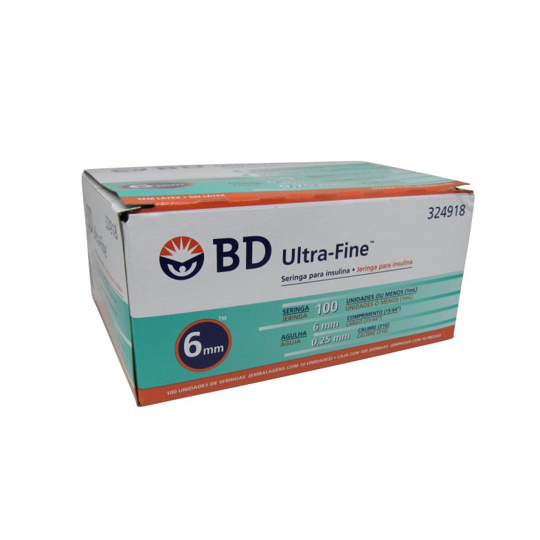 Seringa Insulina Ultra Fine 100ui x 6x0,25mm BD 10un Caixa 10 Pacotes