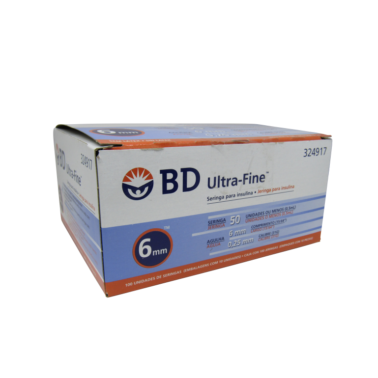 Seringa Insulina Ultra Fine 50UI 6x0,25mm BD 10un Caixa 10 Pacotes