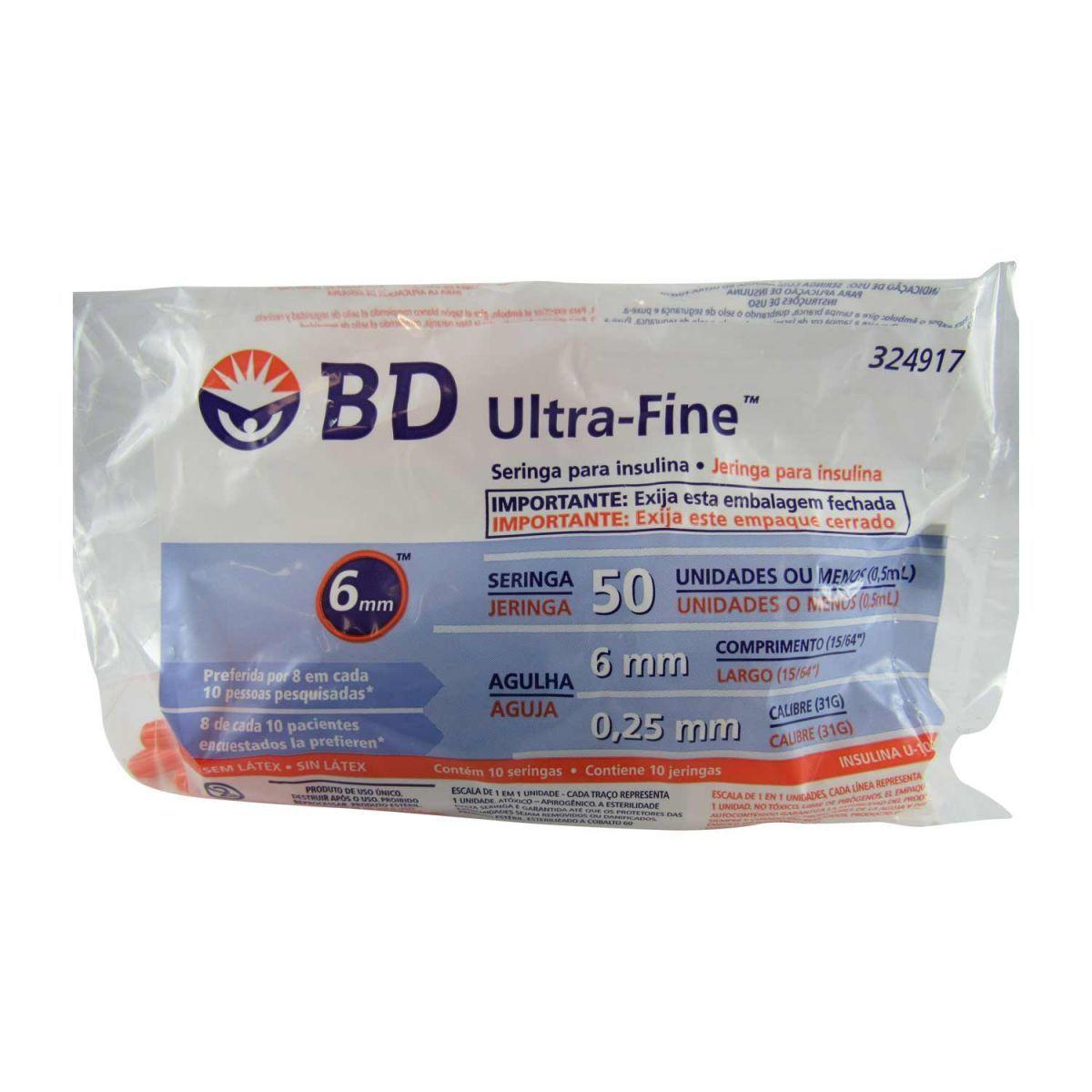 Seringa Insulina Ultra Fine 50UI 6x0,25mm BD 10un