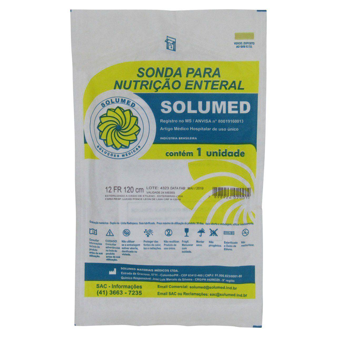 Sonda Nutrição Enteral com Guia Ad 12Fr Solumed Kit 5 un