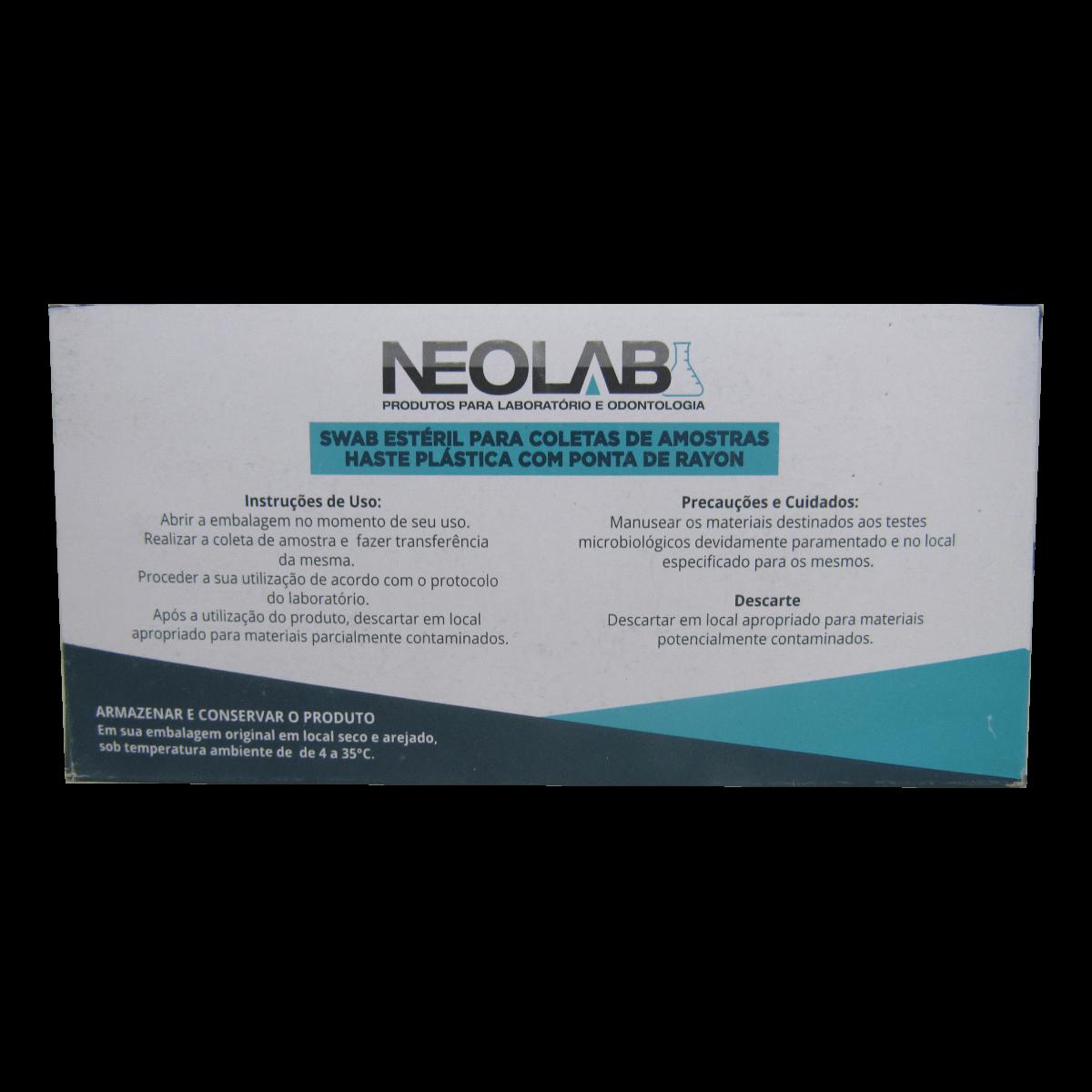 Swab Haste Plástica Ponta Rayon Amostra 100un Neolab