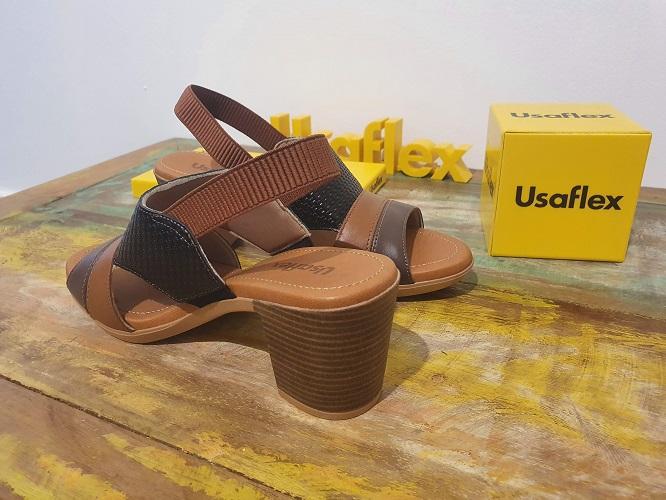 Sandália Feminina Couro Ortopédico Usaflex Ad3811