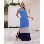 Vestido Malha Comfy  Vancouver  Azul com cinza