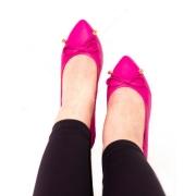 Sapatilha comfy Bico Fino Com Laço Pink