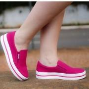 Tênis Lona Quiz Slip-On Flatform Pink