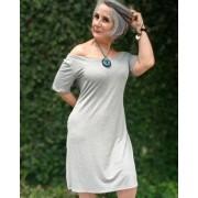 Vestido Midi Malha Vania Mescla Cinza